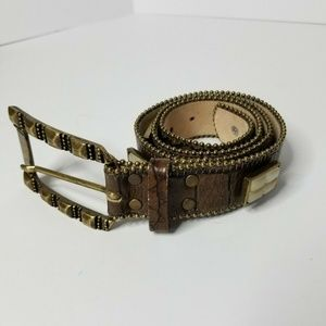 Leatherock Women's Brown Leather Belt With Stones